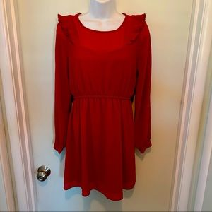 Ruby Red long sleeve lined Forever 21 dress sz M